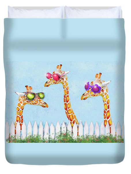 Duvet Cover featuring the digital art Giraffes In Sunglasses by Jane Schnetlage