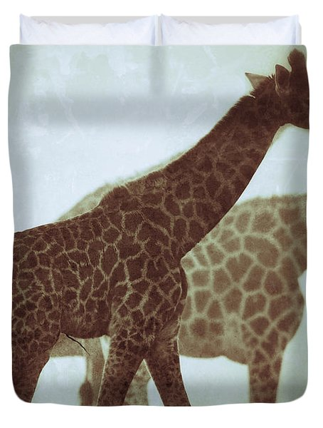 Giraffes In The Mist Duvet Cover