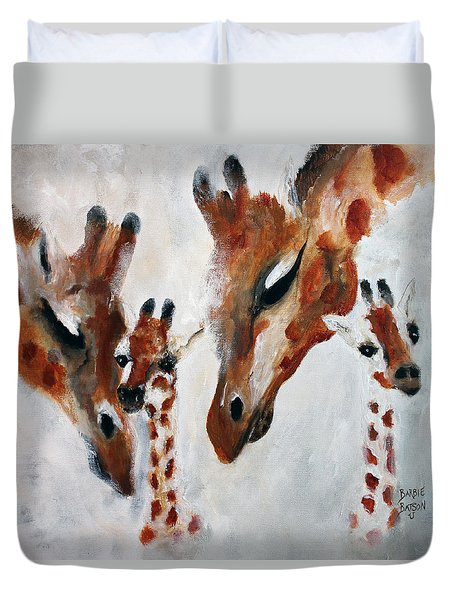 Duvet Cover featuring the painting Giraffes - Oh Baby by Barbie Batson