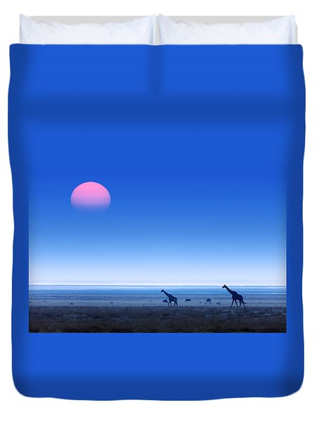 Giraffes On Salt Pans Of Etosha Duvet Cover by Johan Swanepoel