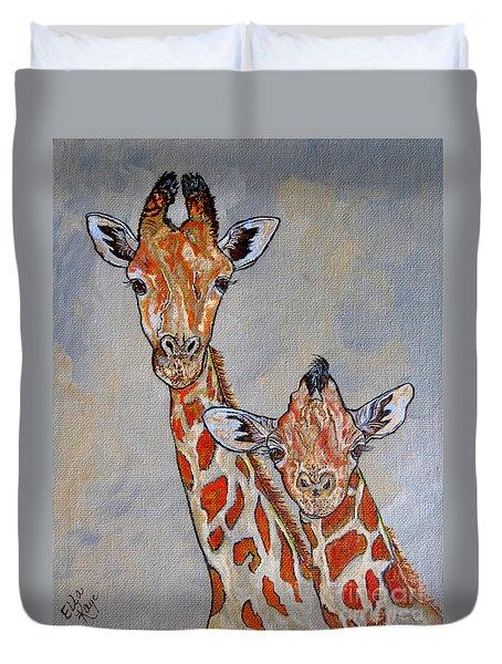 Giraffes - Standing Side By Side Duvet Cover