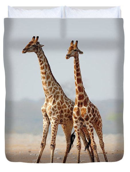 Giraffes Standing Together Duvet Cover by Johan Swanepoel