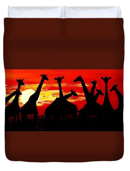 Giraffes Sunset Africa Serengeti Duvet Cover