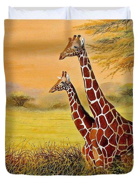 Giraffes Watching Duvet Cover