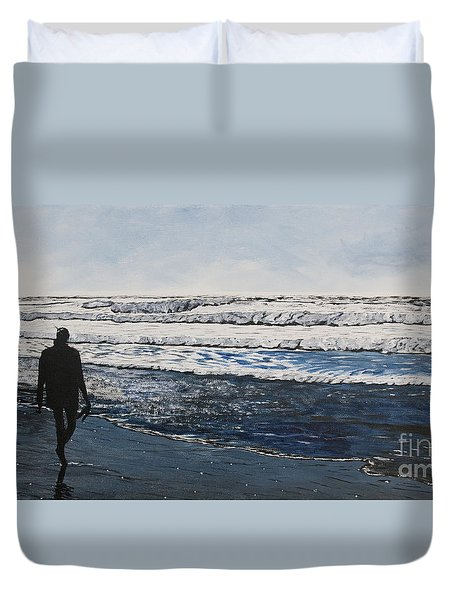 Girl And Dog Walking On The Beach Duvet Cover