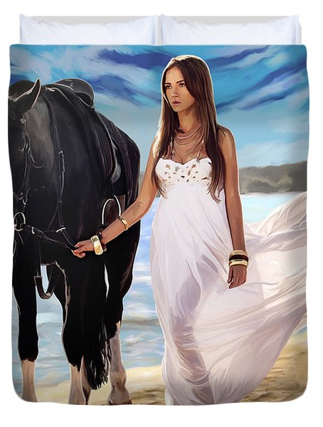 Duvet Cover featuring the painting Girl And Horse On Beach by Tim Gilliland
