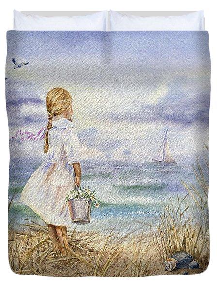Girl At The Ocean Duvet Cover