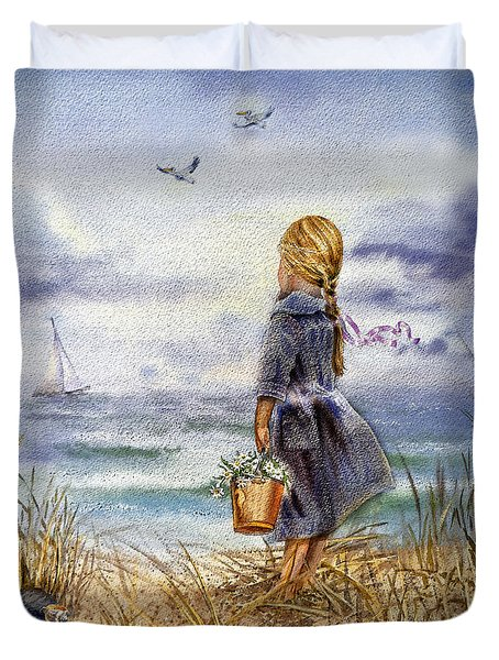 Girl And The Ocean Duvet Cover