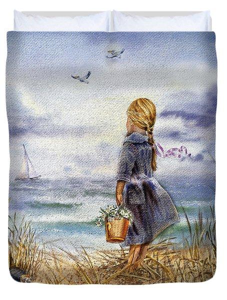 Girl And The Ocean Duvet Cover
