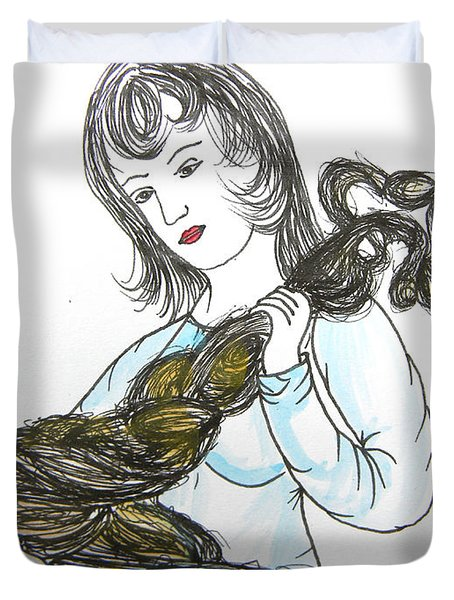 Girl And Tow Duvet Cover