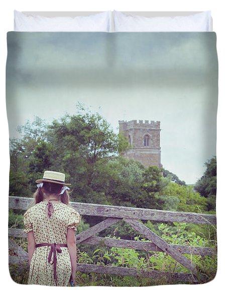 Girl At Gate Duvet Cover by Joana Kruse
