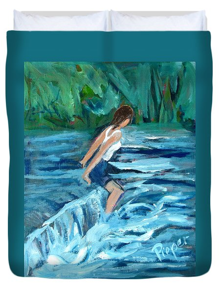 Girl Bathing In River Rapids Duvet Cover by Betty Pieper