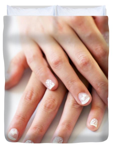 Girl Hands Duvet Cover by Carlos Caetano