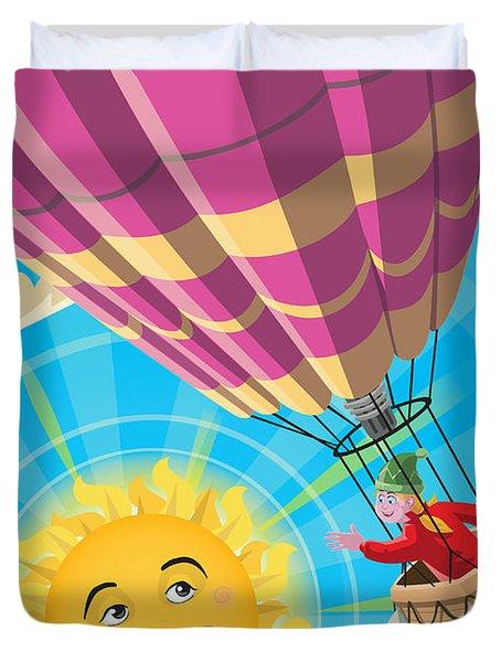Girl In A Balloon Greeting A Happy Sun Duvet Cover