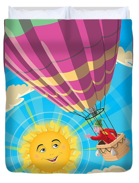 Girl In A Balloon Greeting A Happy Sun Duvet Cover