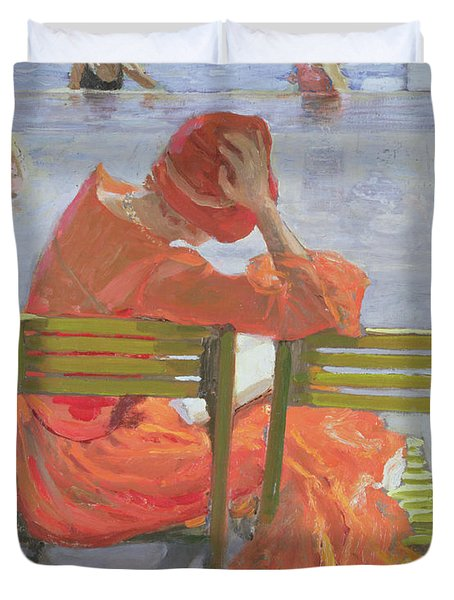 Girl In A Red Dress Reading By A Swimming Pool Duvet Cover