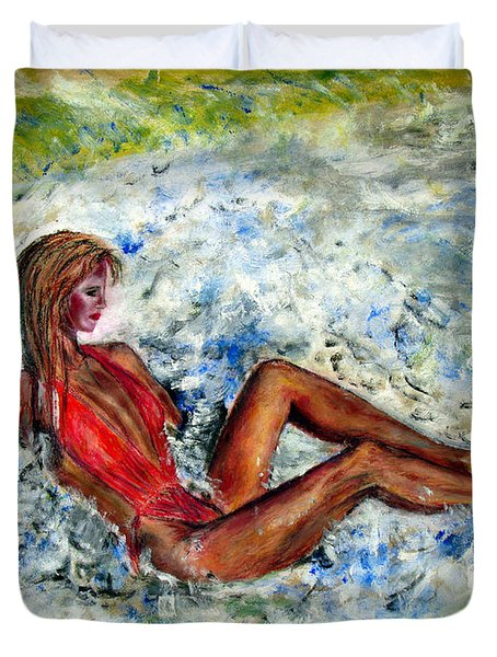 Girl In A Red Swimsuit Duvet Cover