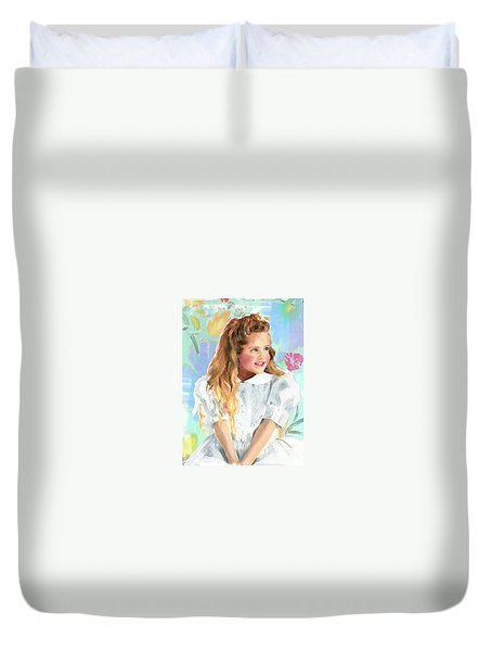 Girl In A White Lace Dress  Duvet Cover
