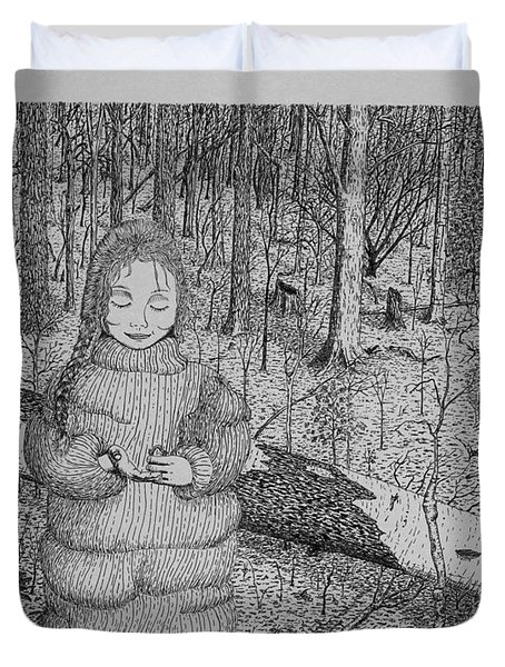 Duvet Cover featuring the drawing Girl In The Forest by Daniel Reed