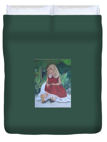 Girl In The Garden Duvet Cover