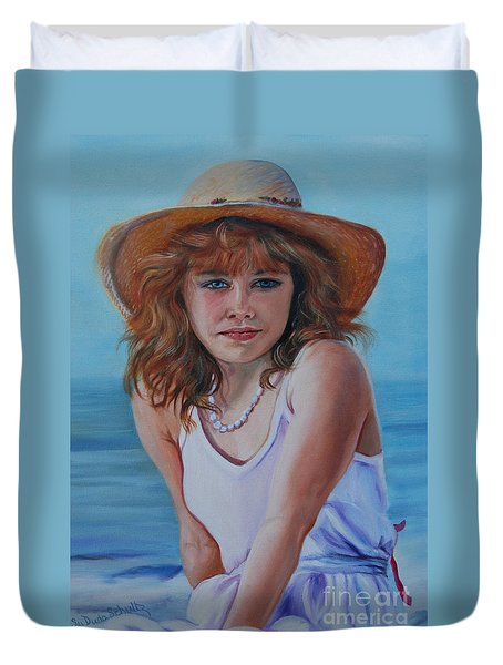 Girl In The Straw Hat Duvet Cover