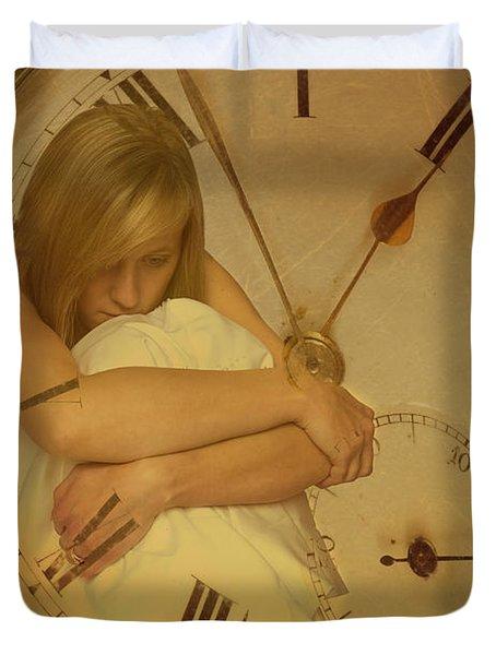 Girl In White Dress In Pocket Watch Duvet Cover by Amanda Elwell