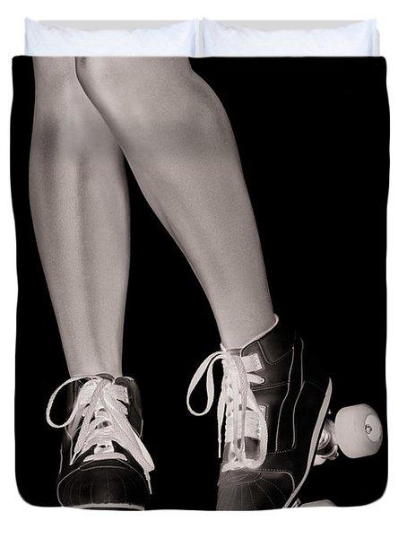 Girl Legs In Roller Skates Artistic Concept Duvet Cover