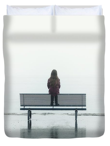Girl On A Bench Duvet Cover by Joana Kruse
