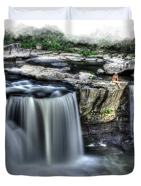 Girl On Rock At Falls Duvet Cover by Dan Friend