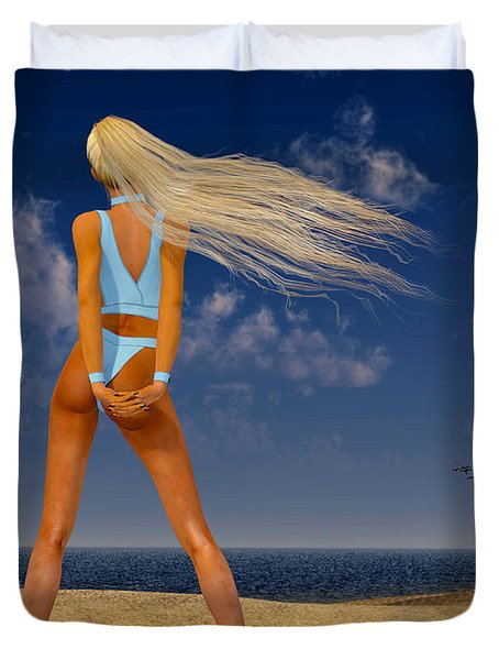 Girl On The Beach... Duvet Cover by Tim Fillingim
