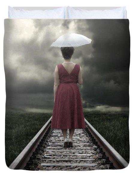 Girl On Tracks Duvet Cover by Joana Kruse