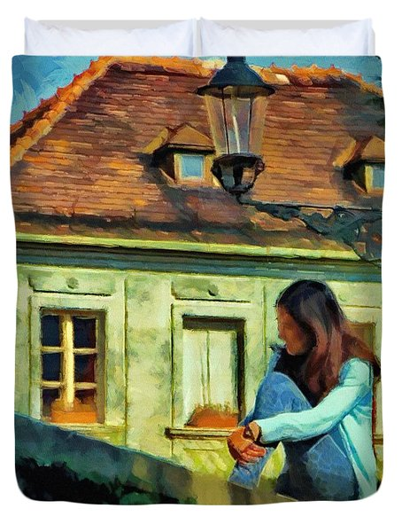 Duvet Cover featuring the painting Girl Posing On Stone Wall by Jeff Kolker