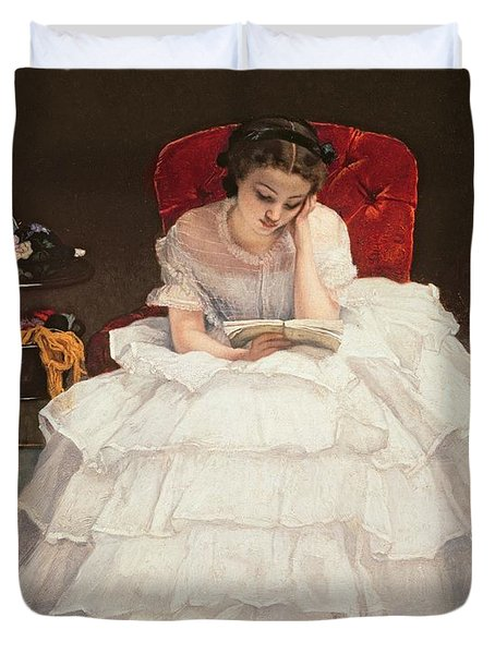 Girl Reading Duvet Cover