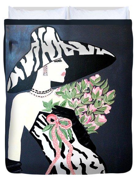 Girl That Loves Pink  Art Deco Duvet Cover