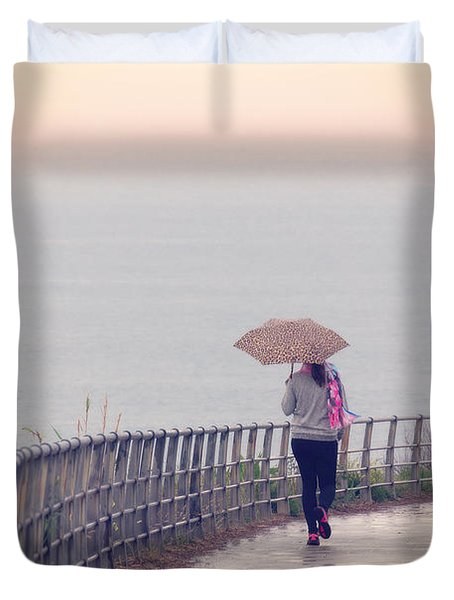 Girl Walking With Umbrella Duvet Cover