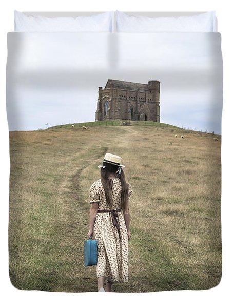 Girl Walks To A Chapel Duvet Cover