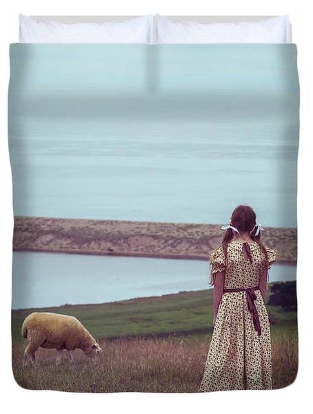 Girl With A Sheep Duvet Cover by Joana Kruse