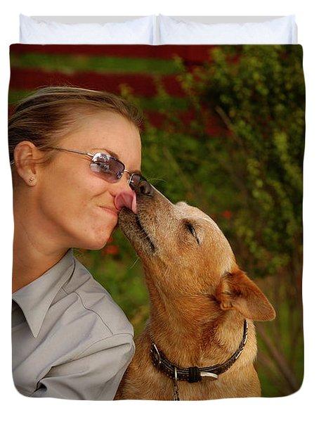 Girl With Dog Duvet Cover