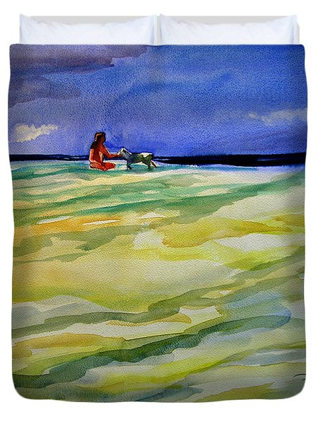 Girl With Dog On The Beach Duvet Cover