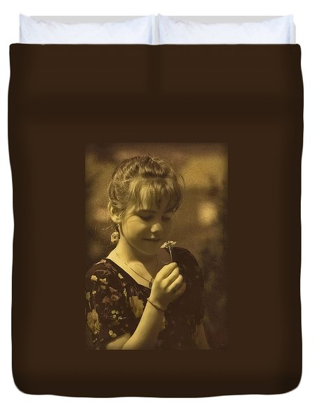 Girl With Flower Duvet Cover
