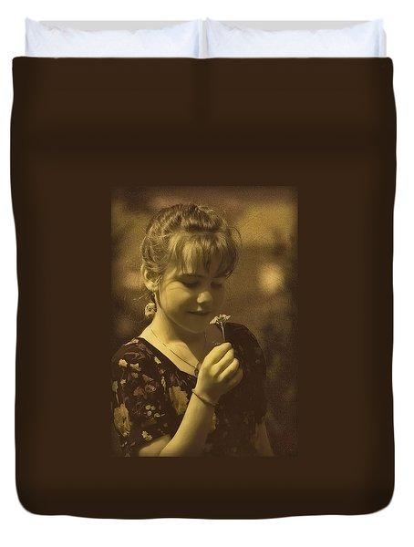 Girl With Flower Duvet Cover by Hanny Heim