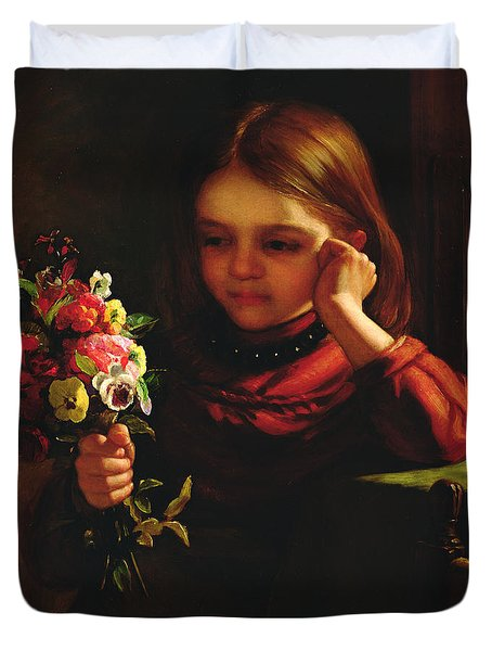 Girl With Flowers Duvet Cover by John Davidson