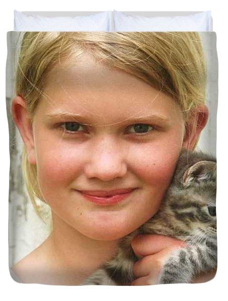 Girl With Kitten Duvet Cover