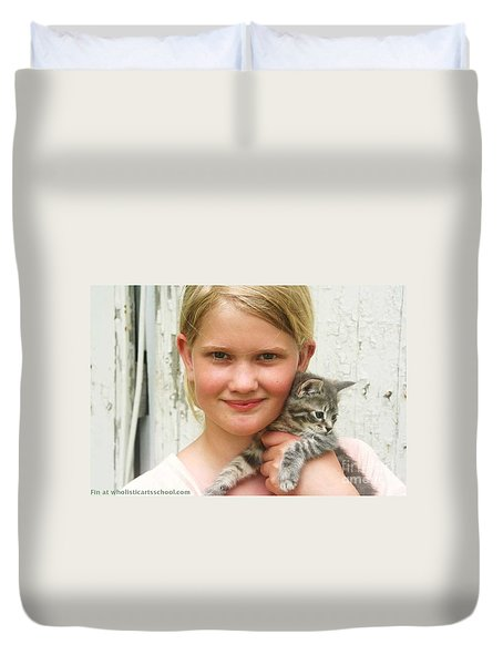 Girl With Kitten Duvet Cover
