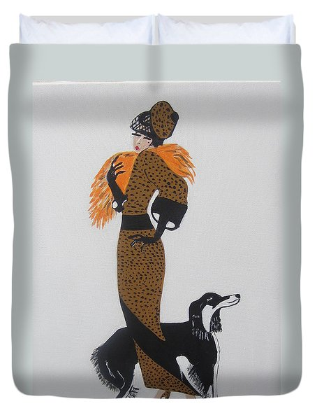 Duvet Cover featuring the painting Girl With Orange Fur by Nora Shepley