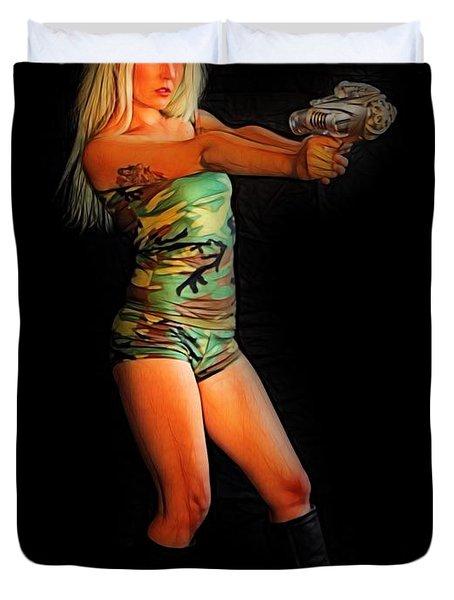 Girl With Ray Gun Duvet Cover
