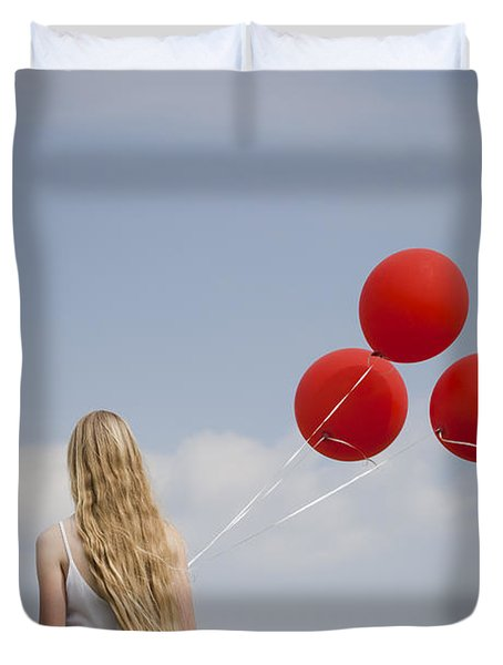 Girl With Red Balloons Duvet Cover