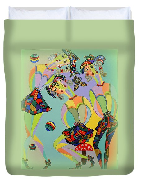 Girls Fantasy Duvet Cover by Marie Schwarzer