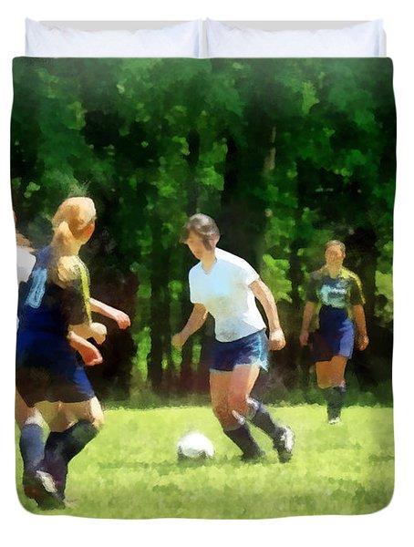 Girls Playing Soccer Duvet Cover
