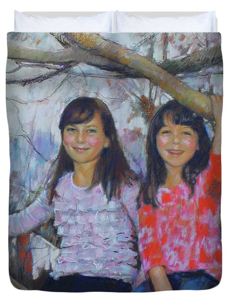 Duvet Cover featuring the drawing Girls Upon The Tree by Viola El